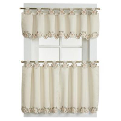 Capri Window Curtain Valance in Ecru/Peach