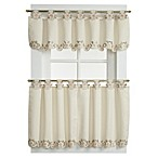 Capri Tab Top Window Curtain Tier Pairs in Ecru/Peach