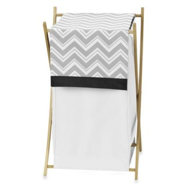 Sweet Jojo Designs Zig Zag Laundry Hamper in Grey/Black