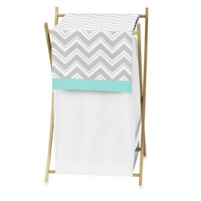 Sweet Jojo Designs Zig Zag Laundry Hamper in Turquoise/Grey