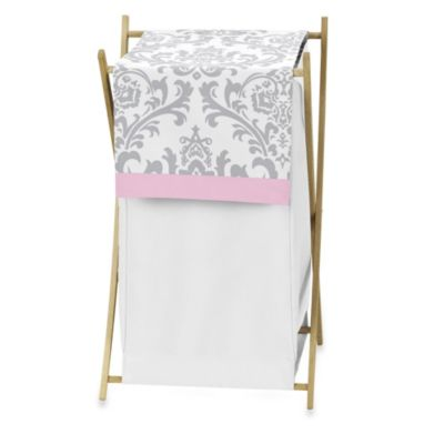 Sweet Jojo Designs Elizabeth Laundry Hamper in Pink/Grey