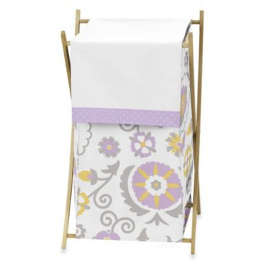 Sweet Jojo Designs Suzanna Laundry Hamper in Lavender/White
