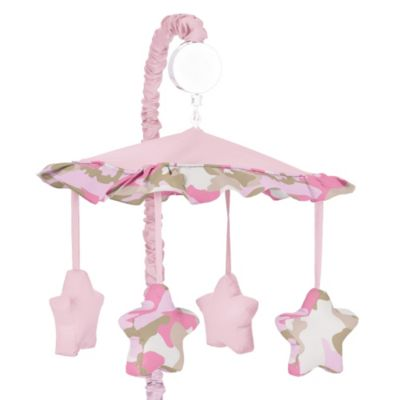 Sweet Jojo Designs Camo Musical Mobile in Pink/Khaki