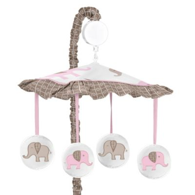 Mobiles > Sweet Jojo Designs Mod Elephant Musical Mobile in Pink/Taupe