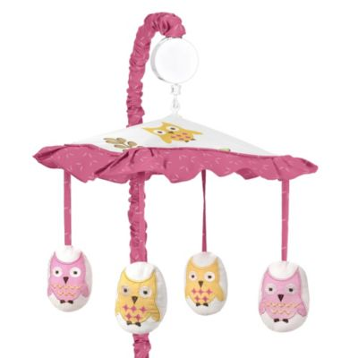 Sweet Jojo Designs Happy Owl Musical Mobile in Pink