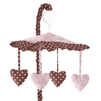 Sweet Jojo Designs French Toile and Polka Dot Musical Mobile in Pink/Brown