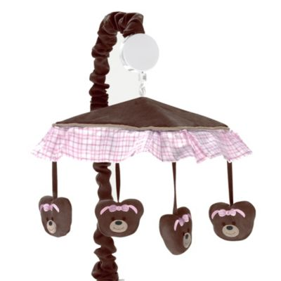 Sweet Jojo Designs Pink and Chocolate Teddy Bear Musical Mobile