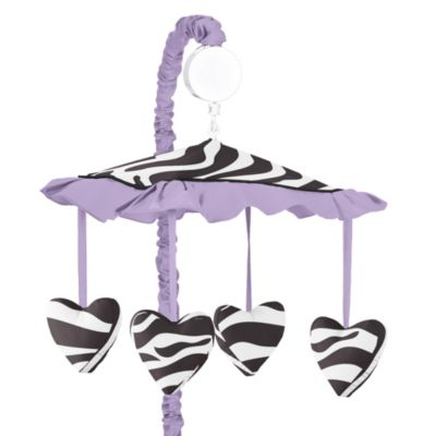 Sweet Jojo Designs Funky Zebra Musical Mobile in Purple