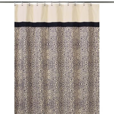 Beige Black Shower Curtain