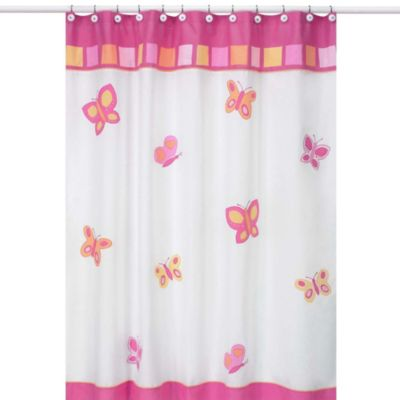 Sweet Jojo Designs Pink and Orange Butterfly Collection Shower Curtain
