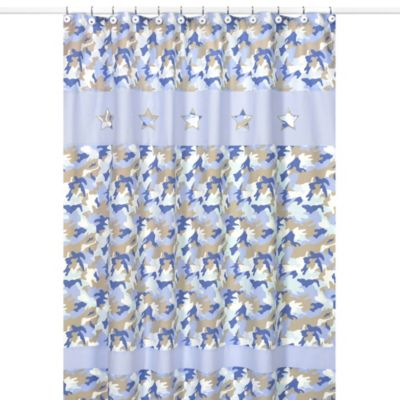 Sweet Jojo Designs Blue Camo Collection Shower Curtain