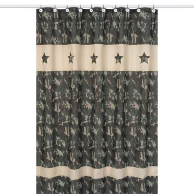 Sweet Jojo Designs Green Camo Collection Shower Curtain