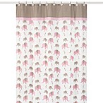 Sweet Jojo Designs Pink and Taupe Mod Elephant Collection Shower Curtain