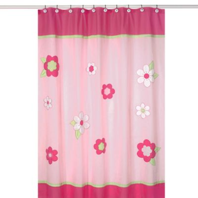 Sweet Jojo Designs Pink and Green Flower Collection Shower Curtain