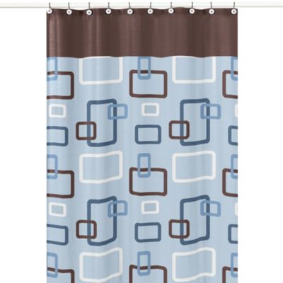 Kids Bath Decor > Sweet Jojo Designs 72-Inch x 72-Inch Blue and Brown Geo Shower Curtain