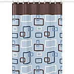 Sweet Jojo Designs 72-Inch x 72-Inch Blue and Brown Geo Shower Curtain