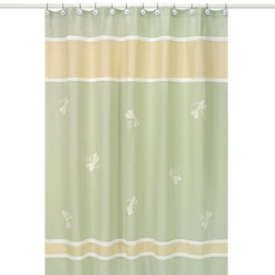 Sweet Jojo Designs 72-Inch x 72-Inch Green Dragonfly Dreams Shower Curtain