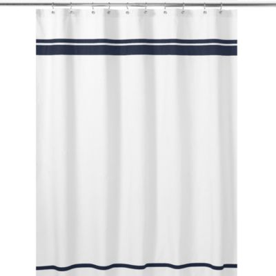 Sweet Jojo Designs Hotel Shower Curtain in White/Navy