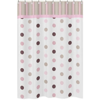 Sweet Jojo Designs Mod Dots Shower Curtain in Pink
