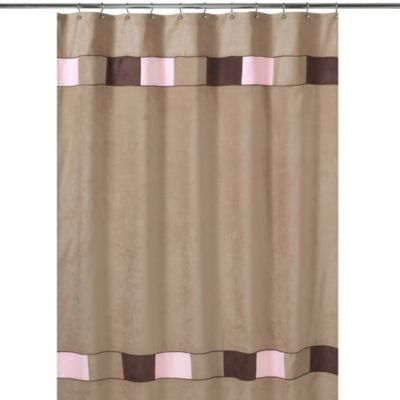 Brown and Pink Kids Shower Curtains