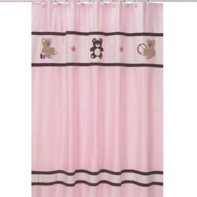 Sweet Jojo Designs Teddy Bear Shower Curtain in Pink and Chocolate