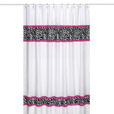 Sweet Jojo Designs Funky Zebra Shower Curtain in Pink