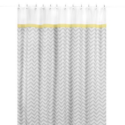 Sweet Jojo Designs Zig Zag Shower Curtain in Yellow and Grey