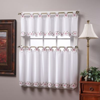 Capri Tab Top Window Curtain Tier Pairs in White/Rose