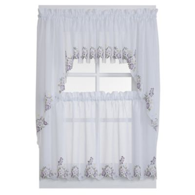 Isabella Window Curtain Tier Pairs in White/Lilac