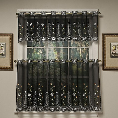 Buy Samantha 36 Inch Sheer Window Curtain Tier Pair In Black Multi From Bed Bath Beyond