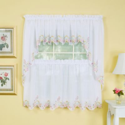 Isabella 36-Inch Window Curtain Tier Pair in White/Rose