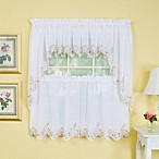Isabella Window Curtain Tier Pairs in White/Rose