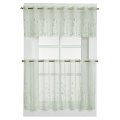 Samantha Sheer Window Curtain Tier Pairs in Sage