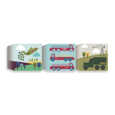 Lemon Ribbon Transportation Canvas Blocks (Set of 3)