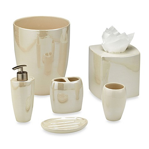 Akoya pearlized ceramic bathroom accessories in ivory for Ceramic bath accessories