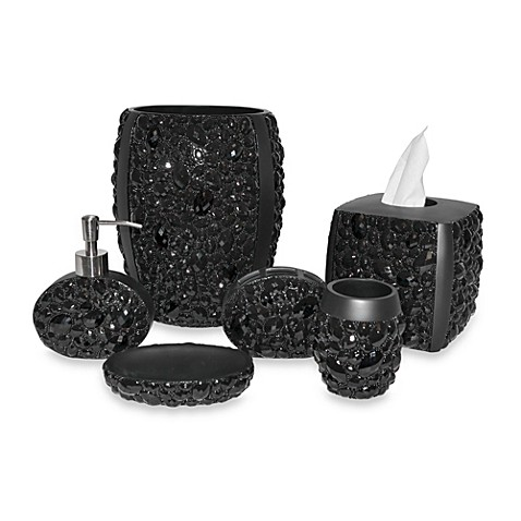 Black magic bathroom accessories bed bath beyond for Black and white bathroom sets