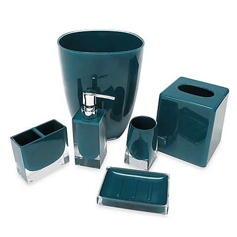 Memphis bath accessory collection in teal bed bath beyond for Teal bathroom accessories sets