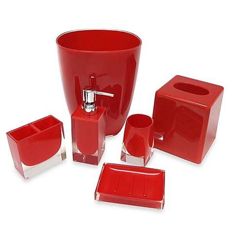 bath accessory ensemble in red a calm soothing accent to any bath