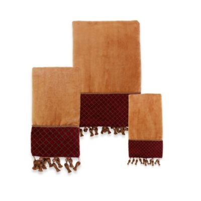 Austin Horn Classics Montecito Red/Gold Cotton Fingertip Towel