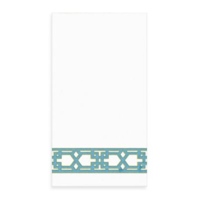 Lattice Linen Guest Towels in Turquoise, Pack of 12
