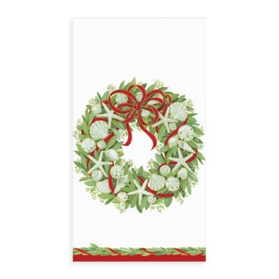 Caspari Shells Wreath Guest Paper Towels (Set of 15)