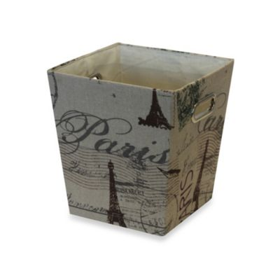 Paris Printed Canvas Waste Basket