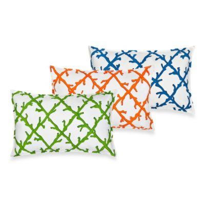 Ecoaccents® Coral Lattice Canvas Oblong Toss Pillow