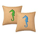 ecoaccents® Seahorse Applique Burlap Square Toss Pillow