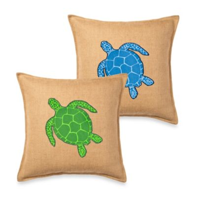 Ecoaccents® Turtle Applique Burlap Square Toss Pillow