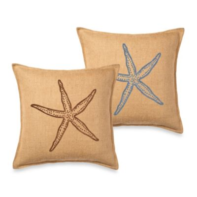 Ecoaccents® Starfish Burlap Square Toss Pillow