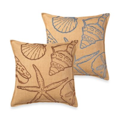 ecoaccents® Shell Burlap Square Toss Pillow