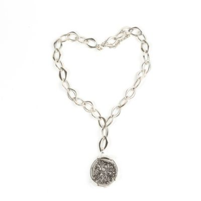 ChristineDarren Sterling Silver Round Bold Drusy Pendant with Necklace
