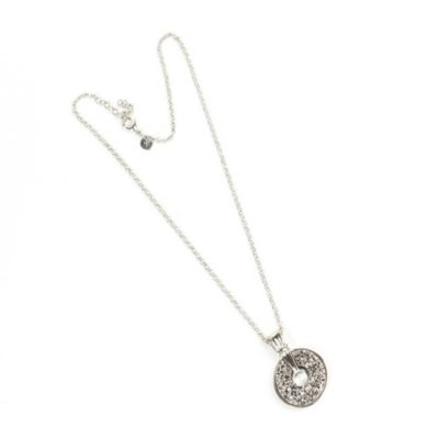 ChristineDarren Sterling Silver Plated Doughnut Titanium Druzy Necklace