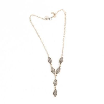 ChristineDarren Sterling Silver Plated Marquis Shaped Titanium Drusy Necklace